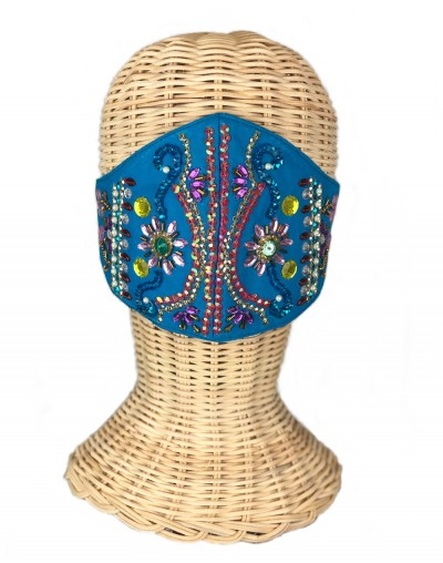 Blue Embroidered Mask