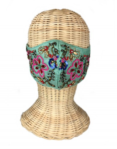 Green Flowers Embroidered Mask