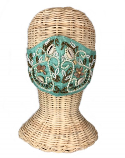 Green Embroidered Shell Mask