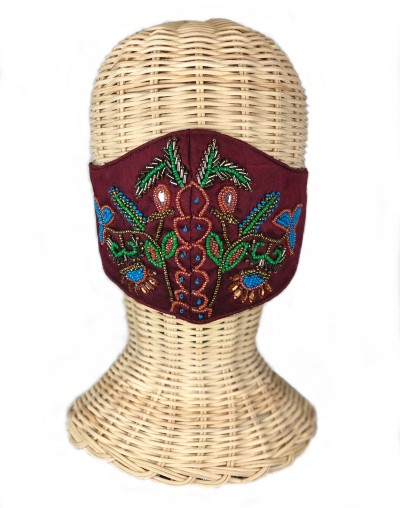Garnet Embroidered Mask (Sold out)