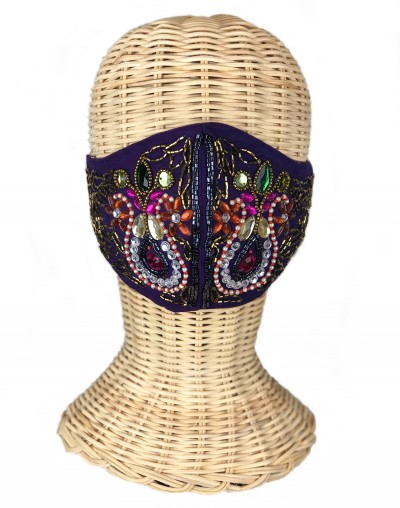 Purple Embroidered Mask
