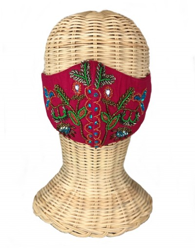 Pink Flowers Embroidered Mask