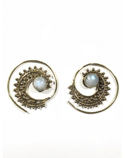 Moon Stone Spiral Earrings