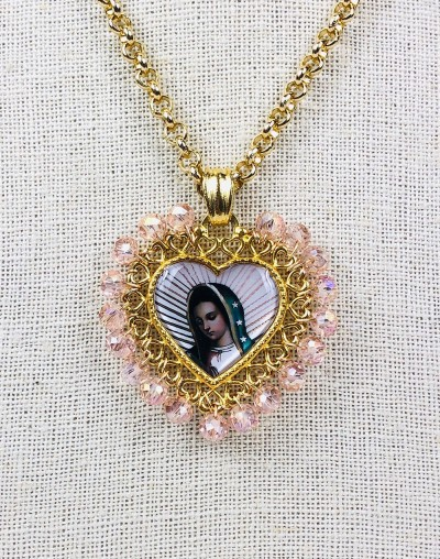 Virgen de Guadalupe Heart Medallion