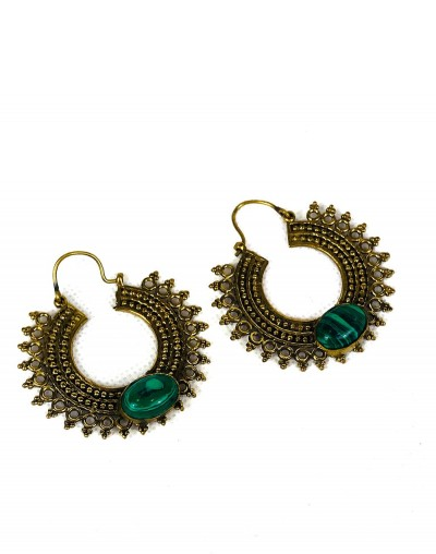 Malachite Mandala Earrings