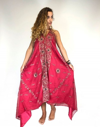 Fuchsia Saree Dress