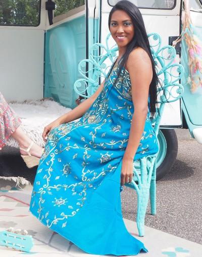 Vestido Saree Azul